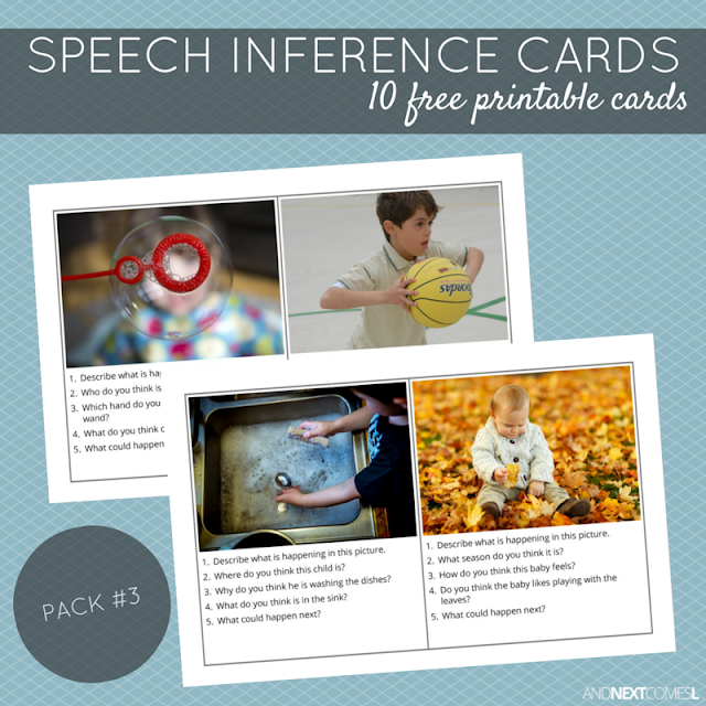 10 free printable speech therapy inference cards for kids with autism and/or hyperlexia from And Next Comes L