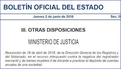 Resolución de 18 de abril de 2016, de la Dirección General de los Registros y del Notariado, en el recurso interpuesto contra la negativa del registrador mercantil y de bienes muebles II de Alicante a practicar el depósito de cuentas anuales de una sociedad.