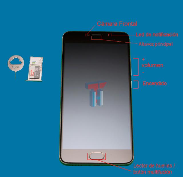 Imagen frontal del Meizu m3 Note donde se muestran los sensores y pulsadores de power (pare superior derecha), volumen (encima del power).También se muestra el botón home en la parte inferior central (debajo de la pantalla) el cual también es lector de huellas.