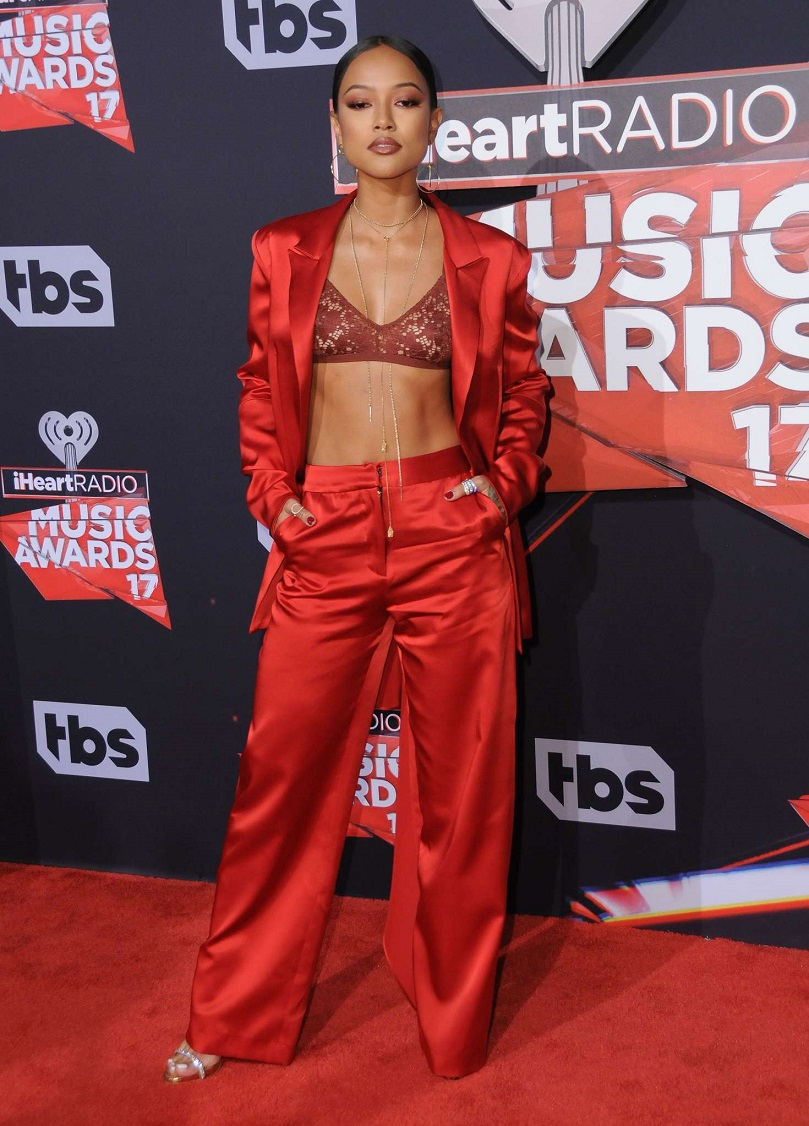 Karrueche Tran flaunts lace bra at the 2017 iHeartRadio Music Awards in LA