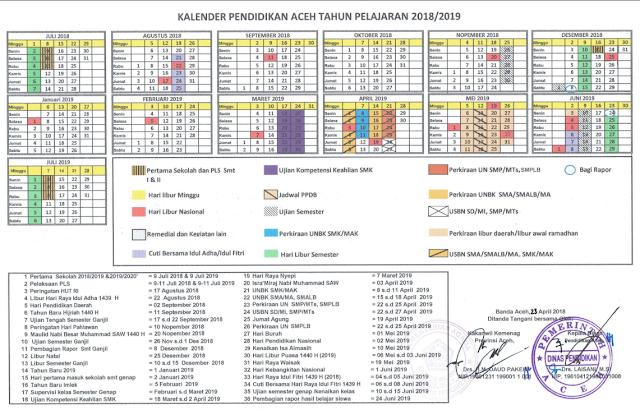 Kalender Pendidikan Tahun Ajaran 2018/2019 Provinsi Aceh