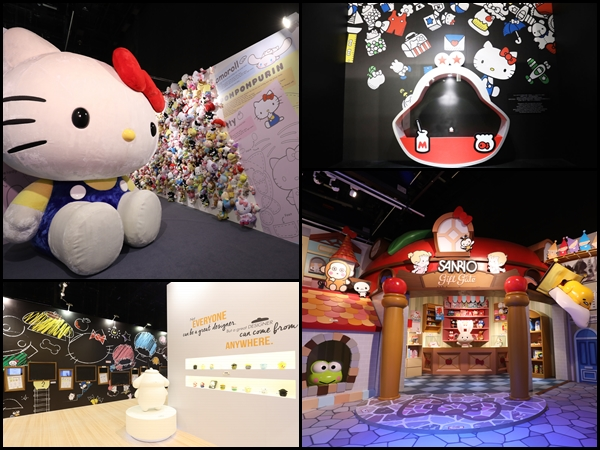 36a2ce4fb (Clockwise from top left) Big Hello Kitty plush at The Plushy World, Hello  Kitty coin purse replica, 'Sanrio Village', and the Drawing Classroom.