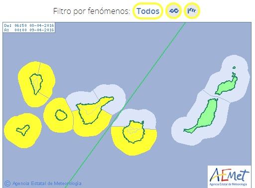 Para hoy viernes 8 de abril siguen activados los avisos por viento en las islas occidentales de Canarias a la que se le suma el aviso costero