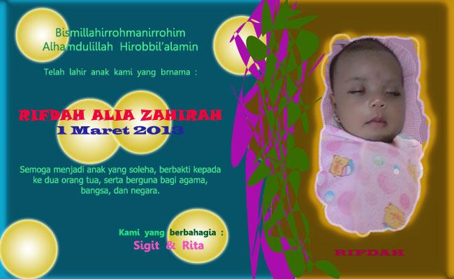 Kartu Ucapan Bayi Baru Lahir Riza Veiriz