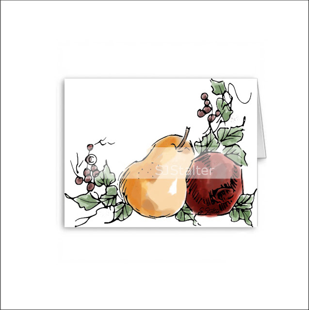 "Printable ""Pear and Pomegranate"" Greeting Card"