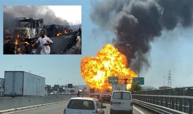 Caminhão carregado de gasolina explode, mata 55 pessoas e deixa 37 feridos em estado grave