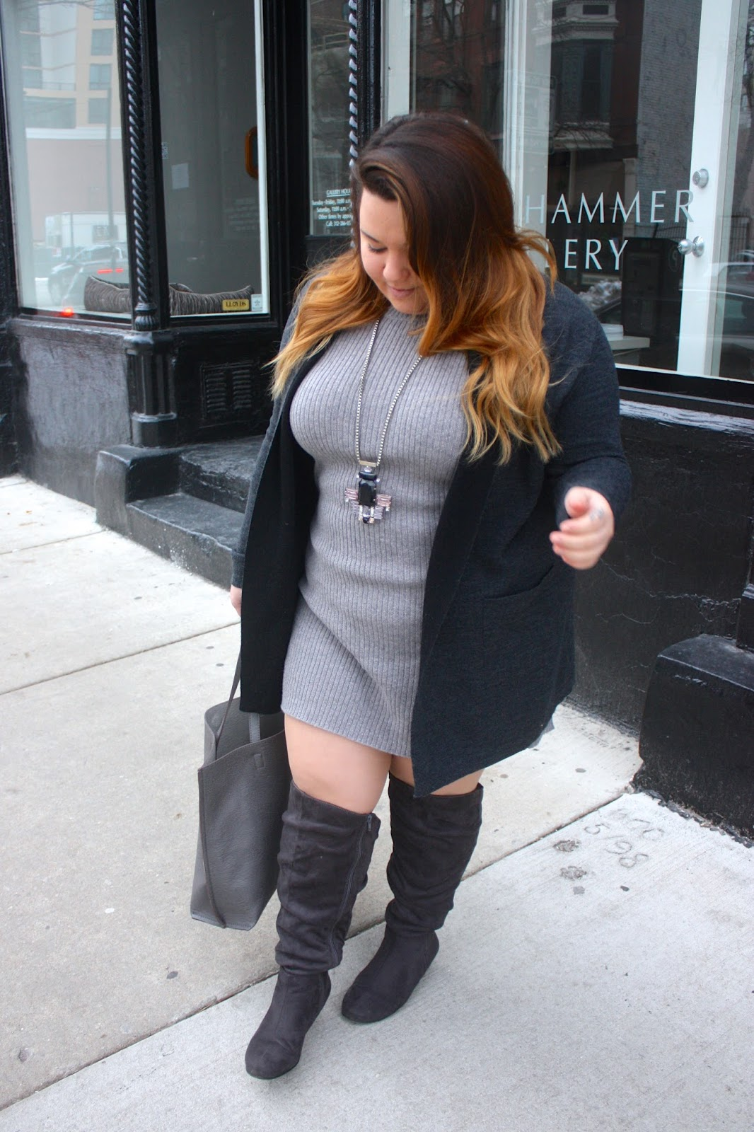 natalie craig, natalie in the city, street level tote, knee high boots, plus size, fashion blogger, chicago, new year, monochromatic outfit, how to wear statement jewelry, duster cardigan, sweater weather, winter outfits 2016, curvy, fashion, wide calf boots, balayage hair, sweater dress