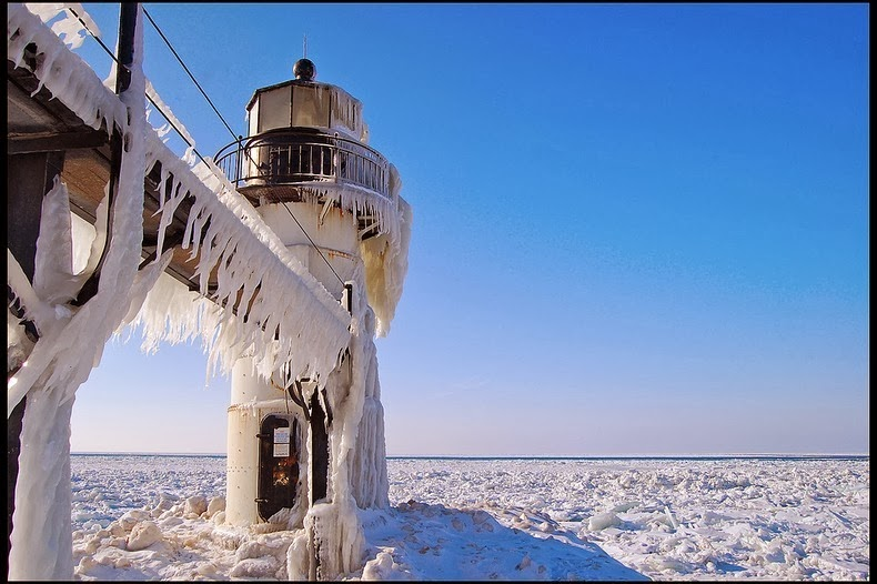 Lake Michigan's Famous Frozen Lighthouses