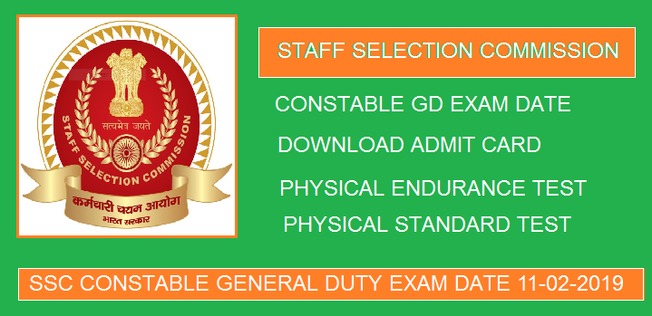 SSC GD Constable Admit Card 2019 for CB Examination