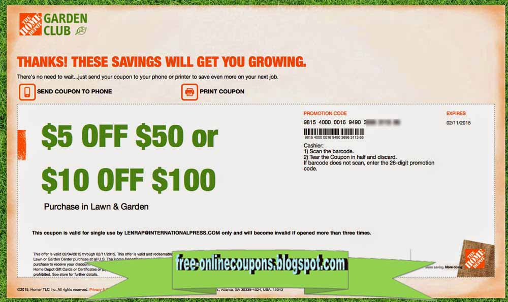 Home depot online coupon code april 2018