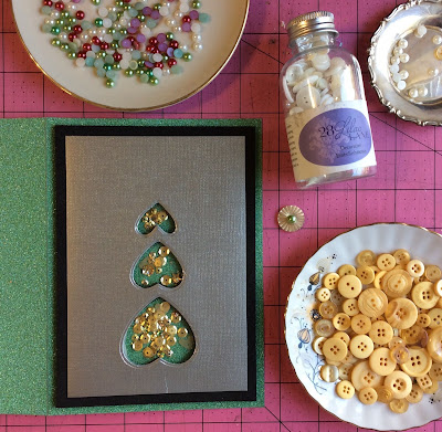 Heart die cut Christmas tree shaker card Crafter's Companion Stefanie Girard Buttons Galore