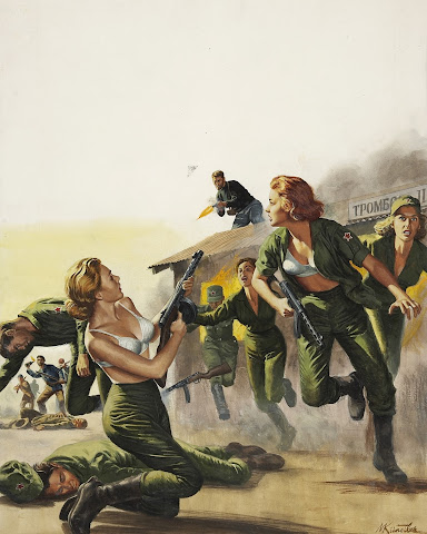 Mort Kunstler, Attack On the Red Army's Female Barracks, For Men Only cover, October, 1962