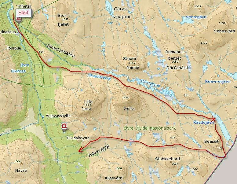 dividalen kart Villmannsliv: Øvre Dividal Nasjonalpark: dividalen kart