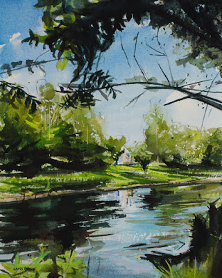 Watercolor painting of Ellicott Creek located in Amherst NY