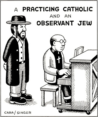 Funny Practicing Catholic Observant Jew religious cartoon pun picture