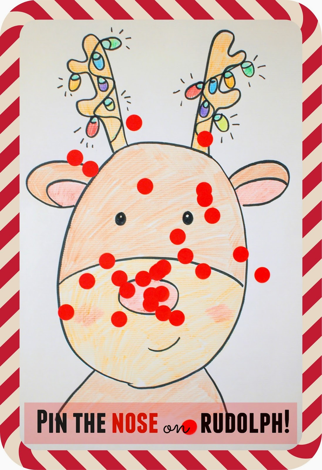 Pin The Nose On Rudolph Game Pink Stripey Socks