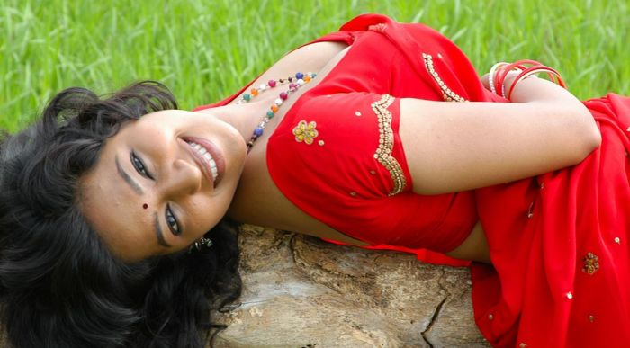 South Actress Teertha in Red Saree Hot Picture