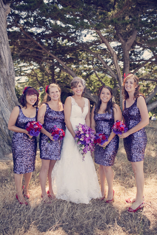 If You Get As Lucky This Bride And Find Sequin Dresses In Purple Or Any Other Tone That Match Your Color Palette Then Go For It Looks Aaaaawwwwsome