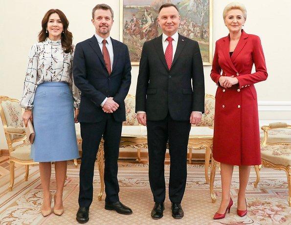Crown Princess Mary wore Strenesse wool virgin coat in Loro Piana and print blouse. Andrzej Duda and Agata Kornhauser-Duda