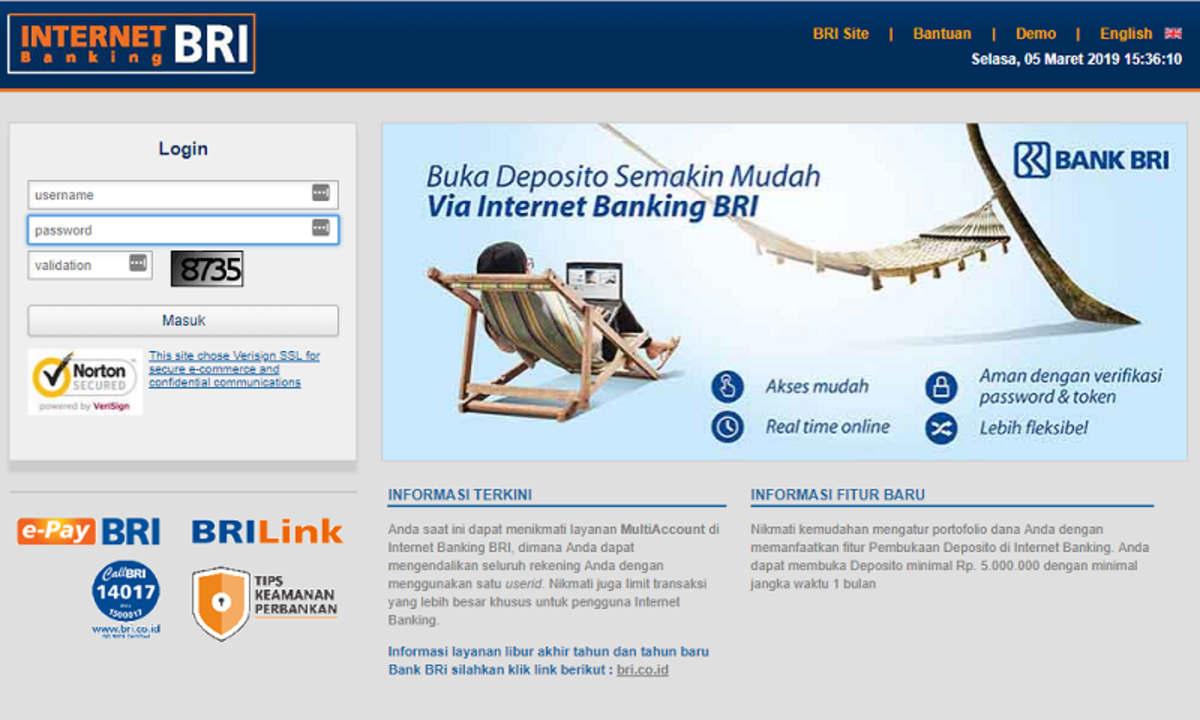 Buka Blokir BRI Internet Banking di Website Resmi