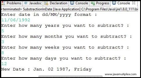 Output of Java program that subtracts years, months, weeks and days from given date.