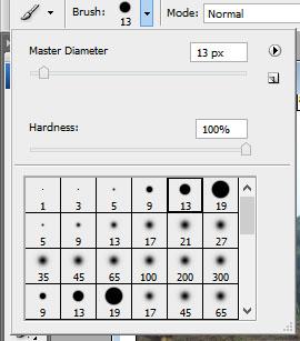 Pilih master diameter dengan ukuran 13 px