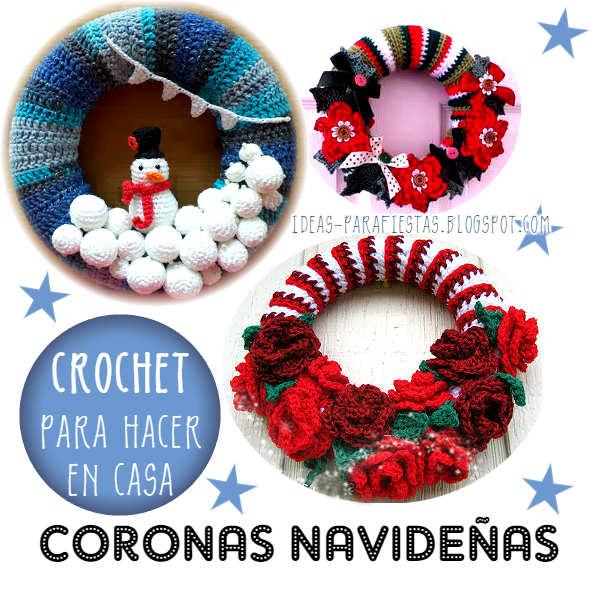 10 coronas navide as tejidas para puertas mi fiesta - Coronas navidenas faciles ...
