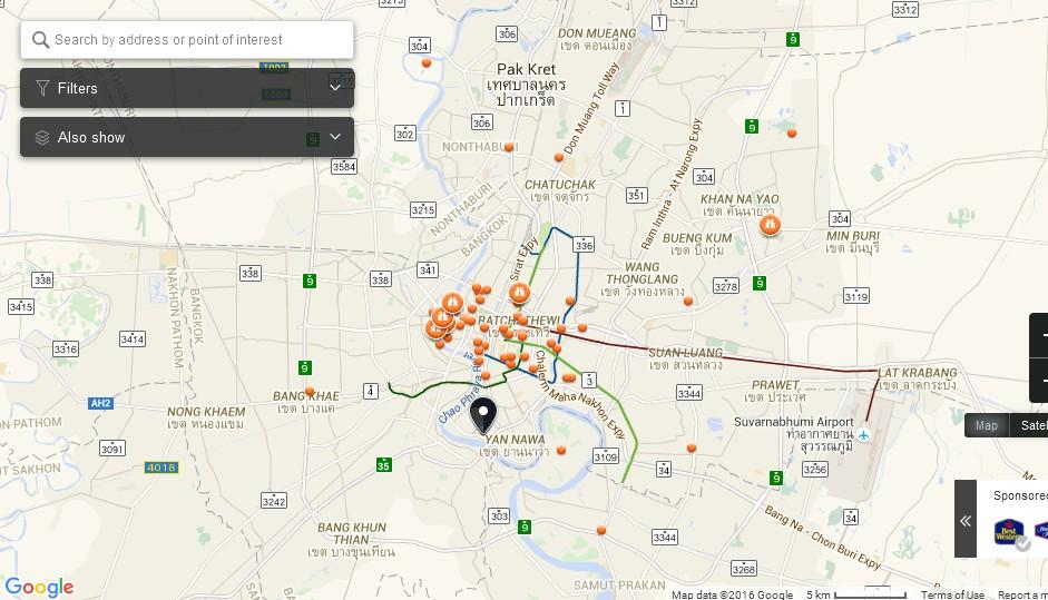 Bhumibol Bridge Bangkok Map - Tourist Attractions in