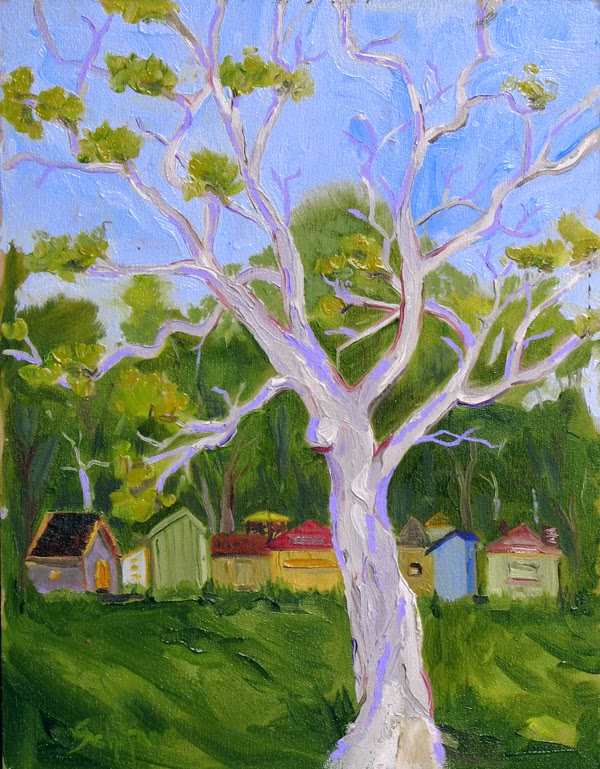 City Island painting, Schifano, Sycamore tree