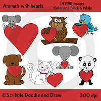 Animals holding hearts clip art