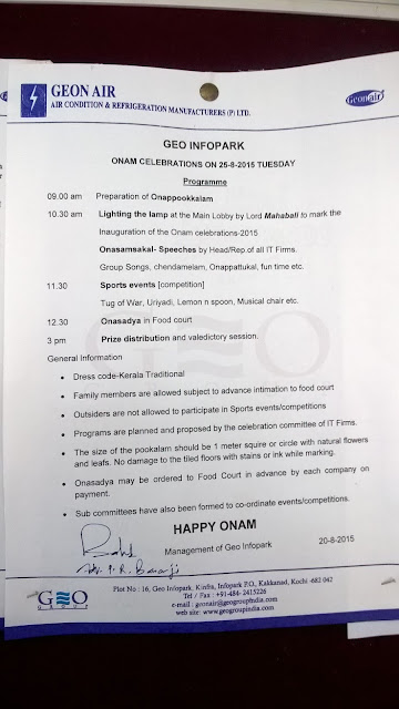 Announcement of Onam Events