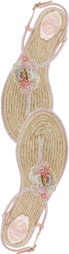Rene Caovilla Crystal-Embellished Floral Flat Sandal
