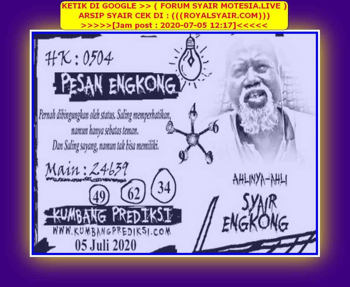 Kode syair Hongkong Minggu 5 Juli 2020 231