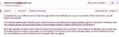 رسالة تحويل ادسنس adsense من مستضاف الى عادي