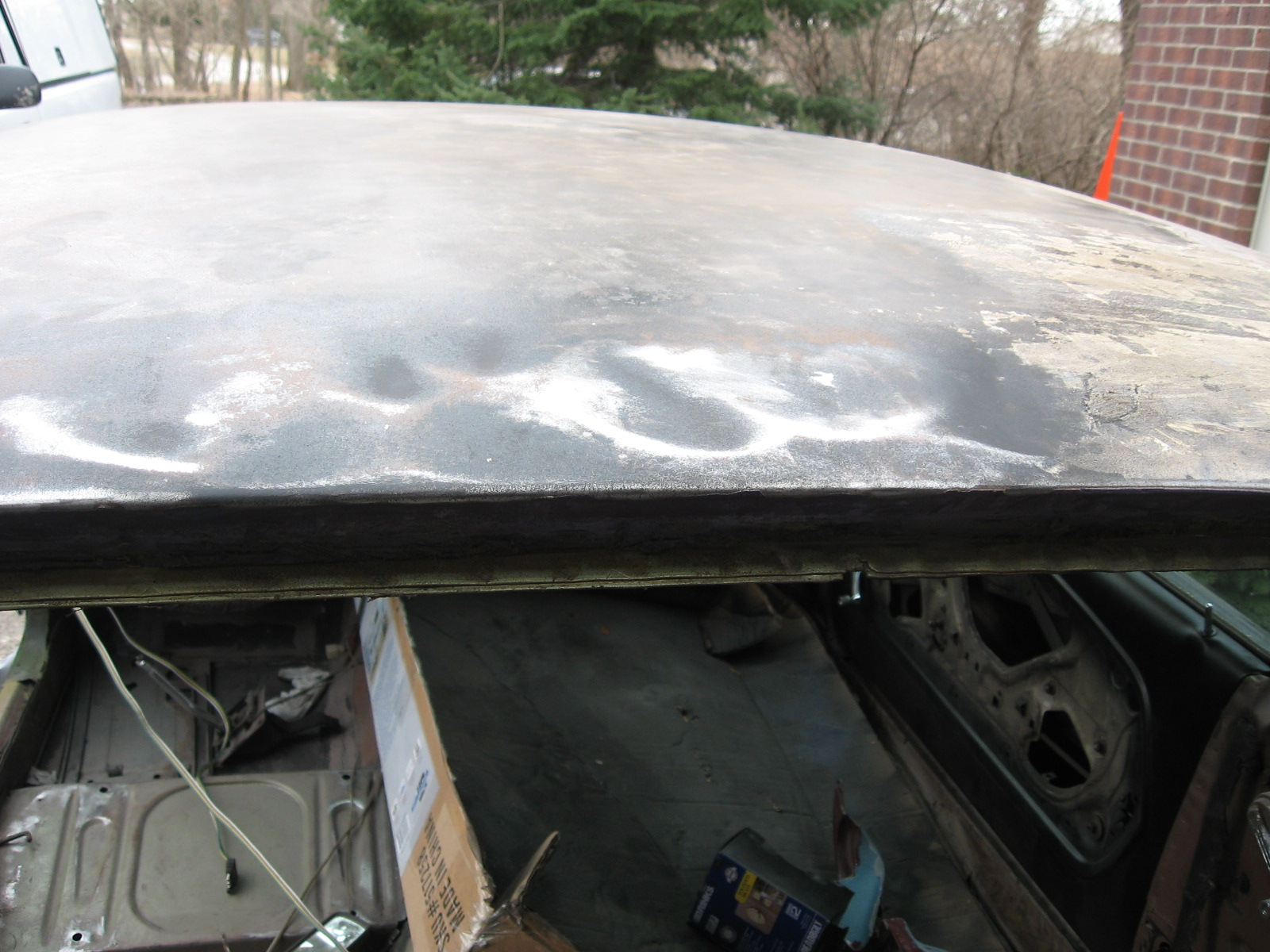 1967 Mustang Restoration Preparing The Roof Paint Rust