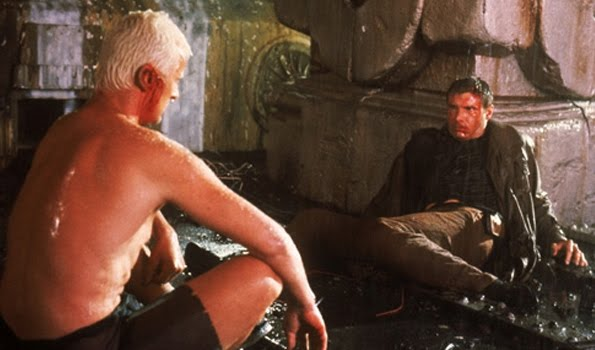 Blade Runner, Directed by Ridley Scott, Roy (played by Rutger Hauer) and Deckard (played by Harrison Ford)