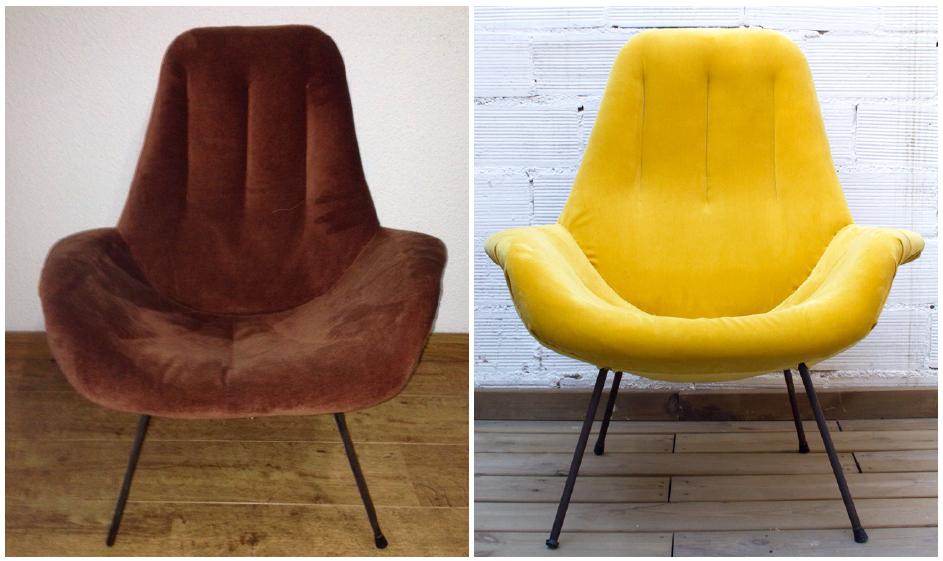 sillón tapizado terciopelo amarillo