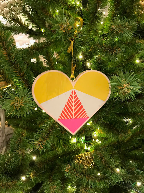 heart shaped wooden ornament, Christmas tree, Nordstrom decorations
