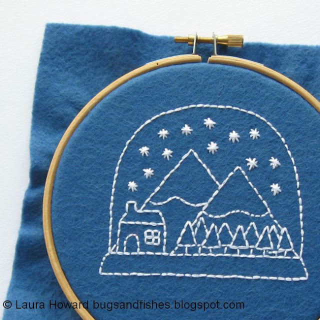 snow globe embroidery