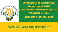 Directorate of Agriculture Recruitment 2016