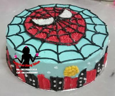 Kue Tart Bentuk Wajah Spiderman