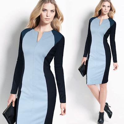 Açık mavi siyah ve lacivert renklerden oluşan ince gösteren elbise
