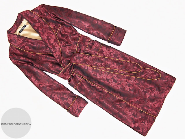 Mens red paisley silk dressing gown burgundy robe