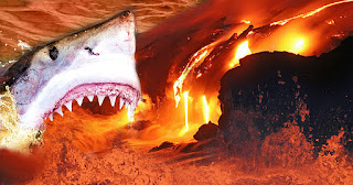 Sharks living in a volcano.