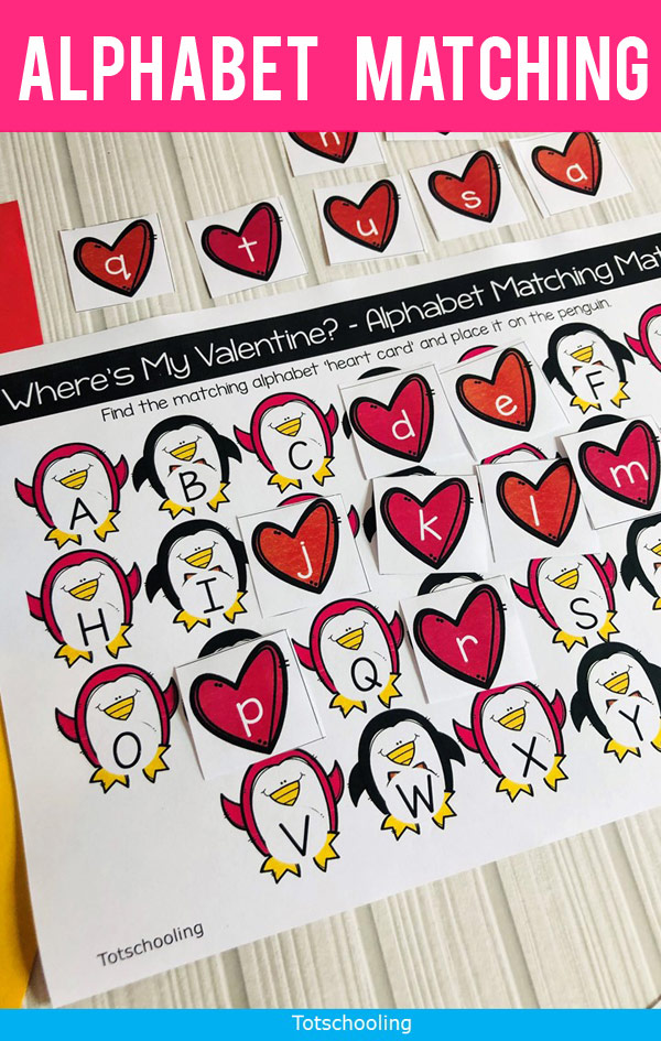 FREE printable Valentine's Day alphabet game featuring penguins! Perfect for preschoolers practicing letter recognition, and includes uppercase and lowercase letters. Perfect preschool literacy activity for Valentine's Day!
