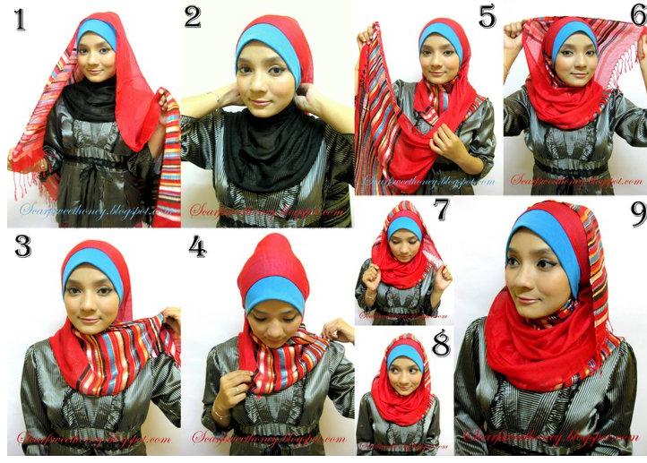 Cara memakai hijab modern untuk muka bulat atau Pipi ...