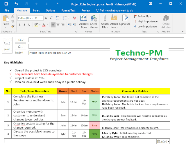 project status update email template, project update template