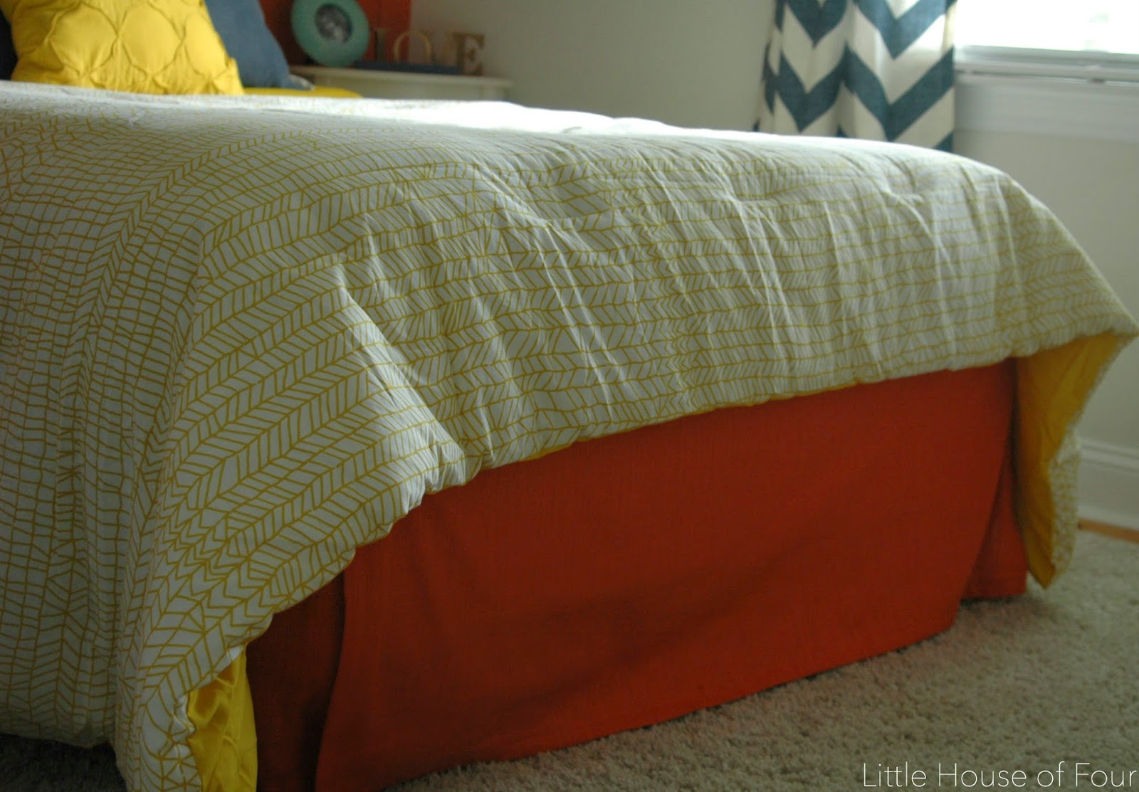 Coral colored bedskirt