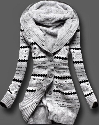 White and black cardigan for women