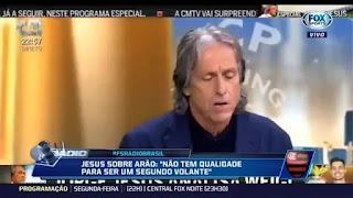 Não tem qualidade para ser um segundo volante, diz Jorge Jesus sobre titular do Flamengo